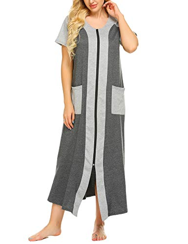 (Ekouaer Long Housecoats for Women Zip Front Robes Short Sleeve Nightgown with)