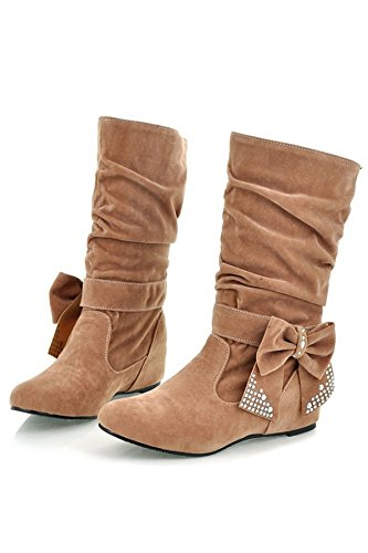 TOOGOO (R)Damen mode mittlere hoch flach Schleife Slouch Stiefel Hellbraun 37