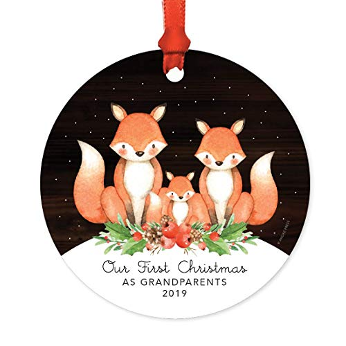 - Andaz Press Family Metal Christmas Ornament, Our First Christmas As Grandparents 2019, Watercolor Fox in Snow, 1-Pack, Includes Ribbon and Gift Bag