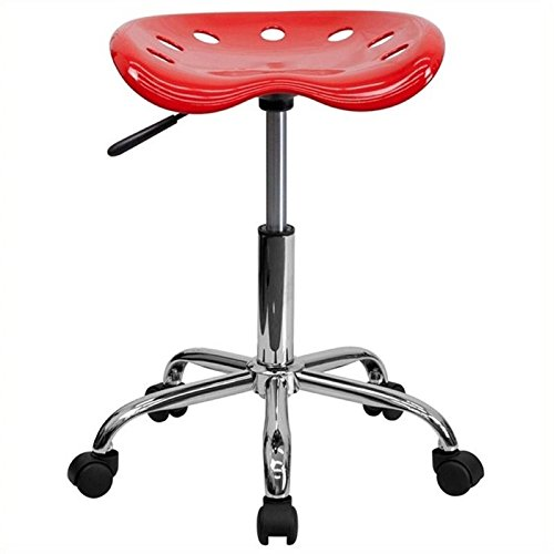 Scranton and Co Adjustable Bar Stool with Chrome Base in Red