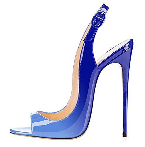 Bleu Soles Escarpins Big multicolore Aiguille Toe Femmes Heels High Talon Peep Sandales Size Ubeauty Stiletto Rouge Chaussures Pumps aFqnpqdSI