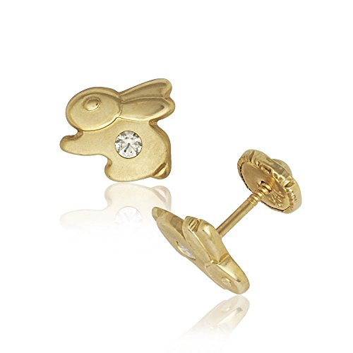 14k Yellow Gold Cubic Zirconia Bunny Rabbit Shaped Screw-Back Safey Earrings for women and girls (7x8mm)