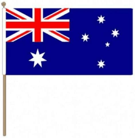 Flagmania® 12 Stück Australien 30,5 x 45,7 cm große Hand winkende Flaggen + 59 mm Button Badge