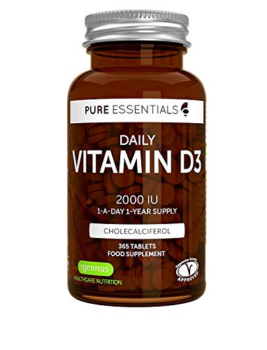 Pure Essentials Vegetarian Vitamin D3 2000iu, High Absorption Cholecalciferol, 365 Small Tablets