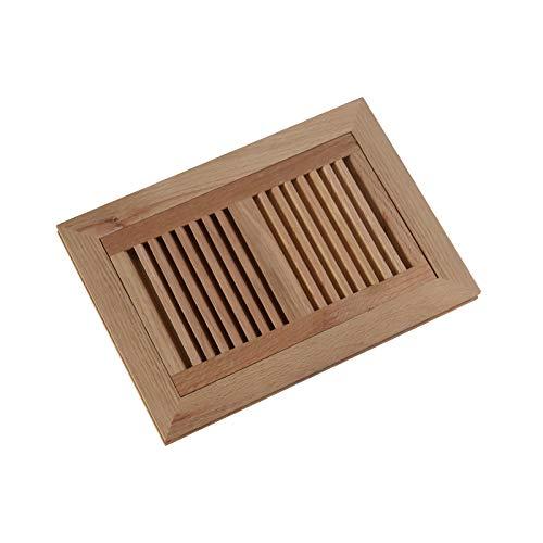 (WELLAND 6 Inch x 10 Inch Red Oak Hardwood Vent Floor Register Flush Mount, Unfinished)