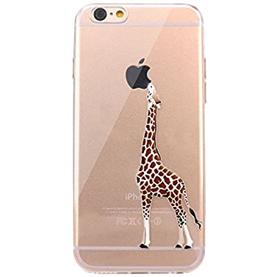 iPhone 6 Case, JAHOLAN Amusing Whimsical Design Clear Bumper TPU Soft Case Rubber Silicone Skin Cover for iPhone 6 6S - Eating Giraffe from JAHOLAN