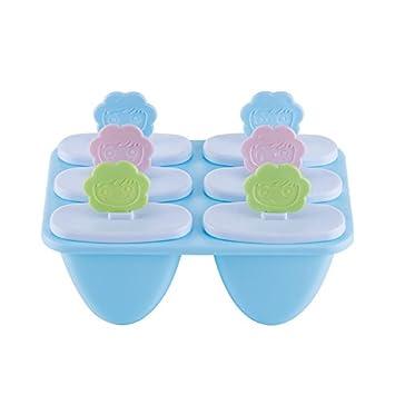 Molde para paletas, molde para helado, sonrisa de seis girasoles frente a helado de paletas (Color : Blue): Amazon.es: Hogar
