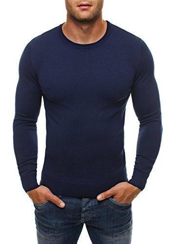 OZONEE Herren Pullover Longsleeve Langarmshirt Shirt Sweatshirt LP6001 L DUNKELBLAU
