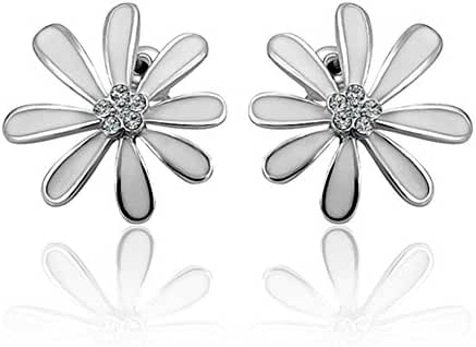 Fashion Crystal White Daisy Platinum Plated Stud Earrings Women-Guillermo B.Randle