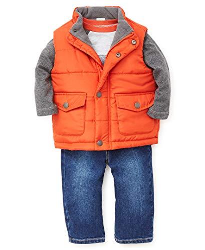 Little Me Baby Boy's Jacket Set Outerwear, earthly orange/denim, 12 Months