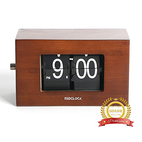 Giant Flip Clock - Bamboo Flip Clock, Home Décor Desk Clock, Modern Mini Clock, Retro Auto Flip Down Clock, Battery Powered, Digital Clocks for Living Room Décor (Retro Bamboo)