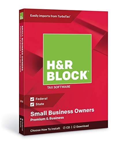 H&R Block Premium & Business 2018 Federal + State Tax Software for Small Business Owners (Windows Vista, 7, 8.1, 10) (Tax Software Download)