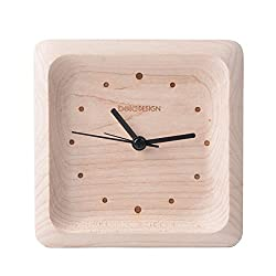belaDESIGN Handmade Maple Wood Square Silent Table Alarm Clock