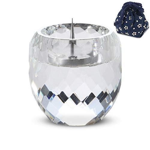 [해외]꽃 낭만 공 촛대 유리 Φ 3.9 x 4.7 cm 불 단 용 봉의 수직 마음 사키 컷 크리스탈 조명 부속 악세사리 자재 적재 / Hananamiman Kobo Candlestick Glass Φ3.9x4.7cm Buddhist Altar Candlestick Shinsaki Cut Crystal Lamp With Accessory