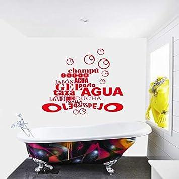 HNXDP España Francia Cita Burbuja Baño Pegatina Vinilo Tatuajes de pared Mural Mural Artista Residencia Decorativa Casa Decoración 50x54cm: Amazon.es: Bricolaje y herramientas