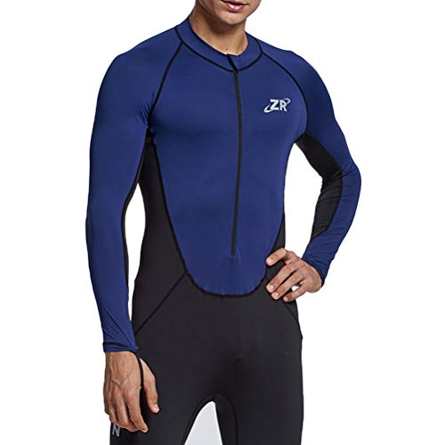 Zionor Full Body Sport Rash Guard Dive Skin Suit for Swimming Snorkeling Diving Surfing with UV Sun Protection Long-Sleeve for Men Blue ()