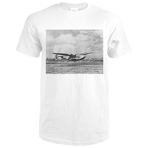 Boeing 314 China Clipper Over Water Airplane - Vintage Photograph (Premium White T-Shirt Large) (Boeing China Clipper)
