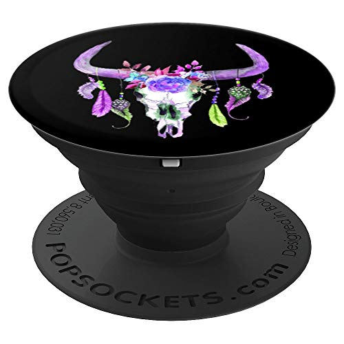 Purple Floral, Cow Skull, Feathers, Tribal, Boho Bull Cattle - PopSockets Grip and Stand for Phones and Tablets