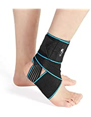 Ankle Support Brace 2 Pack, Adjustable Compression Ankle Braces for Sports Protection, One Size Fits Most for Men & Women (2)