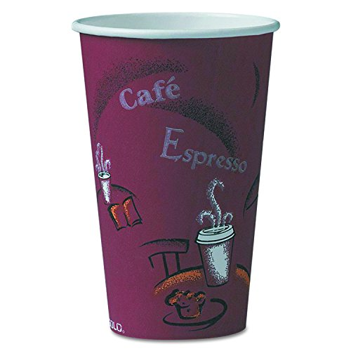 SOLO Cup Company 316SI Bistro Design Hot Drink Cups, Paper, 16oz, Maroon, 20 Packs of 50 (Case of 1000) (Bistro Ounce 16 Cup)