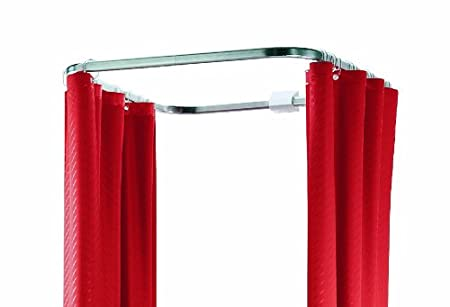 Spirella Ova Cabine Bright Finish Cubicle Enclosure Aluminium Chrome Shower Curtain Rail Size 70 Cm