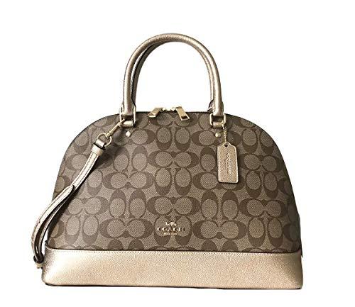 Coach Signature Sierra Satchel Crossbody Bag Purse Handbag (Khaki Rose gold)