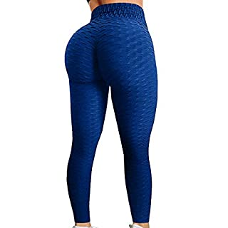 HURMES Women's High Waist Ruched Butt Lifting Booty Scrunch Anti Cellulite Workout Leggings Tummy Control Push Up Honeycomb Textured Tights Blue