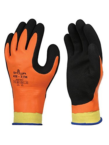 SHOWA 406M-07 406 Rubber Insulated Winter Work Glove, Latex, Medium, Orange (Pack of 12) by SHOWA