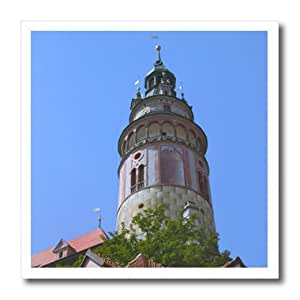 ht_81194_1 Danita Delimont - Castles - Round tower of Cesky Krumlov Castle, Czech Republic - EU06 KSU0121 - Keren Su - Iron on Heat Transfers - 8x8 Iron on Heat Transfer for White Material