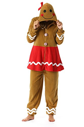 #followme 6442-M Gingerbread Adult Onesie Womens Pajamas ()