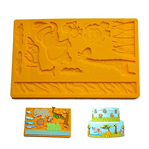 3D Lace Silicone Jungle Zoo Animal Fondant Cake Biscuit Chocolate Mold Mould for Kitchen Baking Dessert Plating Design and Decoration