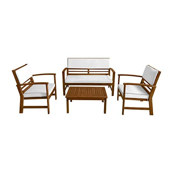FDW Patio Sofa Set Outdoor Chat Set Patio Conversation Set 4-Piece Acacia Wood Outdoor Seating Set with Water Resistant Cushions and Coffee Table for Pool Beach Backyard Balcony Garden,Natural Oiled - √【DURABLE WOOD】: This sofa set is made of real Acacia wood with a natural finish. This chat set is solid, strong and durable.This conversation set is crafted from solid, weather-resistant natural acacia wood for beauty and long-lasting durability.Acacia wood is strong and durable.Resistant to rain, salt, water and chlorine .No splinter, rust, crack, chip or peel.Resistant to mold, mildew, fungi, termites, rot and decay.No harmful chemicals is used.sofa set chat set conversation set. √【SUPER QUALITY CUSHION】: The chat set's cushion is soft and comfortable. The sofa set's cushion is built from high quality fabrics that resist stain, water, color fading, mold, and mildew. The conversation set's cushion is conveniently secured to seat back with two ties. Cushions made of weather resistant polyester fabric. The cushions water resistant covering also help provide an easy to clean surface for all of life's little messes.sofa set conversation set chat set. √【EASY TO CLEAN】: Our patio chat set can be easily wiped clean with a damp cloth. The classic openwork design and smooth surfaces create a patio sofa set that's easy to clean. A warm Natural finish highlights the Natural wood and protects from the weather. Our conversation set allow for easy cleaning and sufficient airflow for a quick dry. Seat covers are removable for washing.chat set sofa set conversation set. - patio-furniture, patio, conversation-sets - 41ap9s%2BP%2BUL. SS570  -