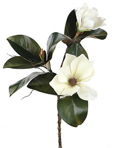 Rinlong Large White Artificial Magnolia Silk Flowers Branch 30