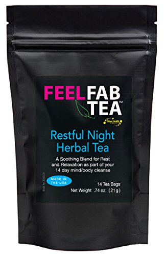 Feel Fab Night Time Cleansing Detox Tea by Opus Health & Beauty - Night Herbal Tea Reduces Anxiety with Chamomile, Lemon Myrtle & Lavender for Deep, Relaxing, Restful Sleep