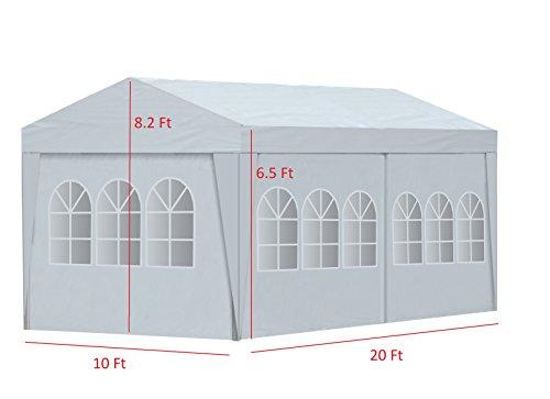 ALEKO APT20X10GAZEBO Outdoor Event Canopy Tent Wedding Party 20 x 10 x 8.5 Feet White
