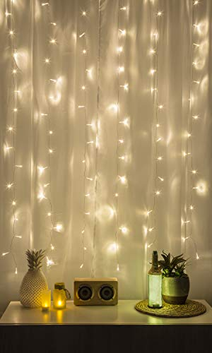 Merkury Innovations Cascading LED Window Curtain String Lights Wedding Party Home Garden Bedroom Outdoor Indoor Wall Decorations, Warm White ()