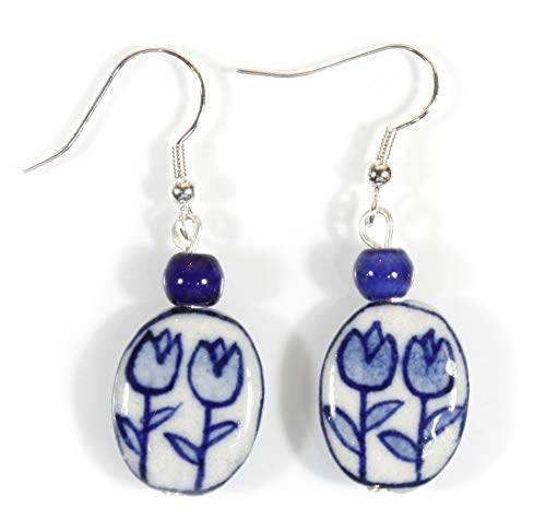 """Tulip Time"" Dutch Blue Delft Porcelain Earrings"