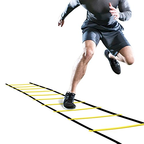 Step Ladder Training - GHB Pro Agility Ladder Agility Training Ladder Speed Flat Rung with Carrying Bag 12 Rungs