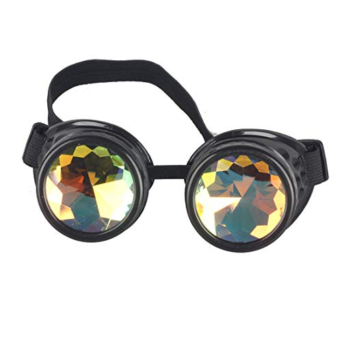 STLY Kaleidoscope Steampunk Rave Glasses Goggles with Rainbow Crystal Glass Lens (Black)