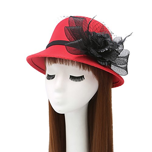 BingHang women's gauze feather large flower wool dome hat