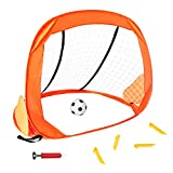 Fajiabao Soccer Goal Set Portable Sports Target Training Net Gifts with Carry Bag and Mini Soccer Ball and Pump for Kids Toddlers Children Age 3 4 5 6-48x32x32 inch