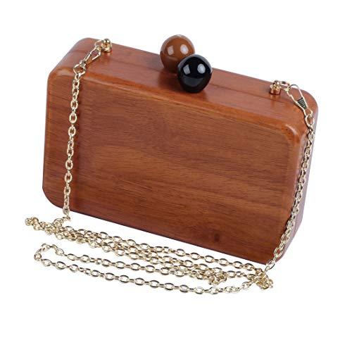 (LETODE Wooden Evening Bag Wood Clutch Purse for Women Handbag shoulder Bag with Metal Chain (COFFEE))