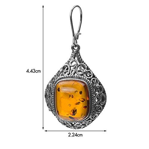 Noda Bague rectangulaire en argent sterling boucles d'oreilles classique type crochet