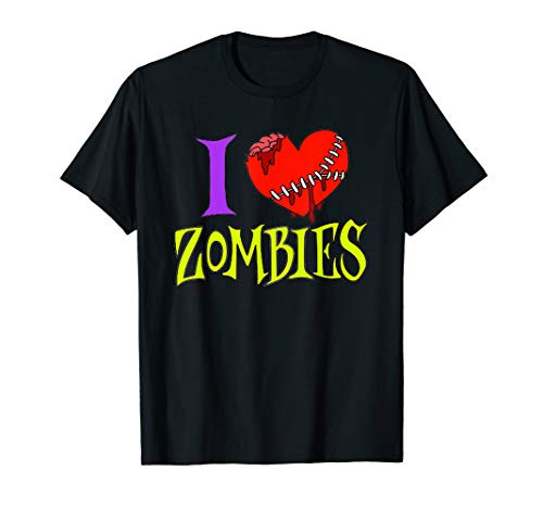 I Love Zombies Halloween Costume Brain Heart Shirt ()