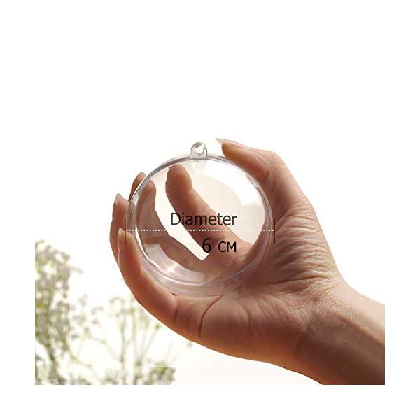Okaytec Palline per Albero di Natale - Palle di Natale Trasparenti Come Addobbi Natalizi per Decorazioni Albero Natale - 20 pz (Diametro 6 cm) 2 spesavip