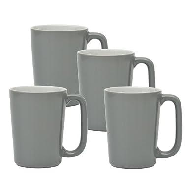 Culver SLAT Mug, 16-Ounce, Grey White, Set of 4