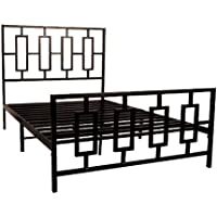 Home Source Industries 13130 Queen Metal Bed Frame with Decorative Headboard and Footboard, Dark Coffee