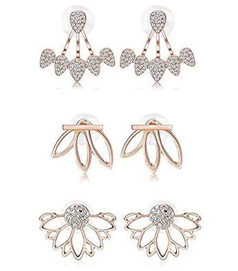 1032062599128 Milacolato Hollow Lotus Earrings for Women Girls Fashion Flower Ear Jackets  Crystal Simple Chic Stud Earrings Bar Stud Earrings Cuff Earrings Set