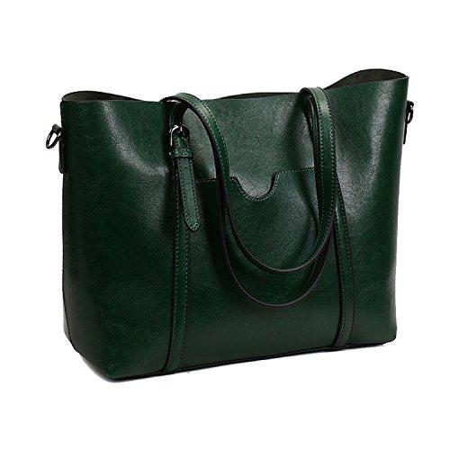 Bolso de las mujeres, SIFINI Bolsos de hombro del bolso de la taleguilla del cuero de la PU Las bolsas de asas del bolso de Crossbody para trabajar haciendo compras que viajan Verde oscuro