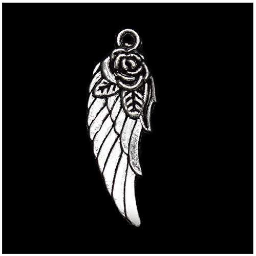 (Pack of 80 Rose Wings Charms Pendants Silver Craft Supplies for Jewelry Making Tibetan Accessories for Bracelets Necklace DIY)